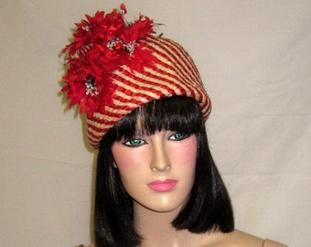 """Stunning """"Cleo Sims, New York"""" Red and White Striped, Sculptural Straw Hat with Red Florets"""