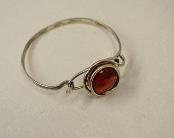 Bracelet Silver Round Red Colored Glass Handmade Glass Silver Bracelet Fun Red Color Glass Unique
