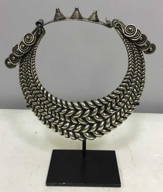 Necklace Chinese Miao Hill Tribe Silver 4 Band Twisted Silver Collar Handmade Necklace Jewelry Silver Band Necklace Collar Women Unique