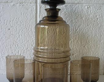 Vintage Art Deco smoke glass decanter and glass set. 5 glasses. Art Deco glass, barware set, smoke glass barware