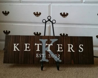 Family Name and Initials Wood Sign/Board