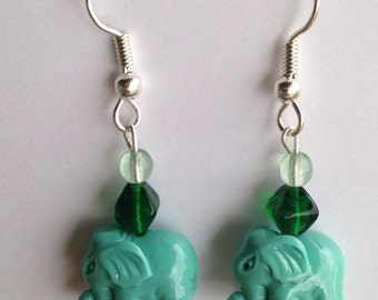 Green elephant beaded dangle earrings, silver plated hypoallergenic fish hooks