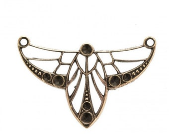 Vintage brass Art Nouveau style 2-ring pendant with rhinestone settings . 27x18mm. Sold individually, b9-2429(e)