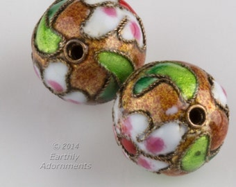 Vintage gold cloisonné rounds. 14mm. Package of 2. b2-544(e)