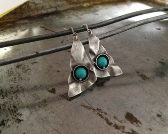 Hand forged silver earrings, turquoise magnesite, wavy hand forged earrings