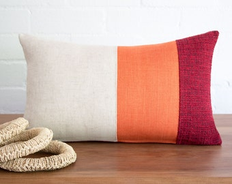 Modern rustic rectangle pillow cushion cover in orange & textured burgundy with oatmeal loose weave linen blend