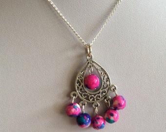 Pink chandelier pendant