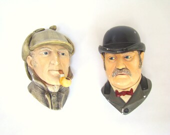 Vintage Chalkware Heads; Sherlock Holmes and Doctor Watson; 1984 Bossons Chalkware; Dr. Watson; Book nook; Library Decor; Bossons Head