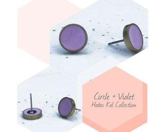 Violet studs. Light pink Post Earrings. Titanium Hypoallergenic Studs.