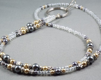 ID beaded lanyard necklace beige and grey glass pearls select size, long ID badge , keychain or eyeglasses holder, gift under 20
