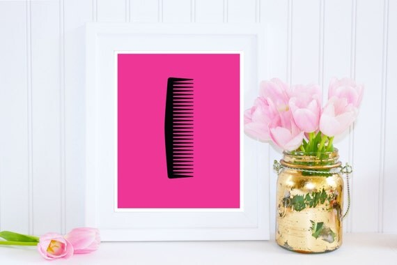 hair salon decor comb print pink and black art hot pink
