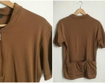 70s Brown Cycling Top // Biking Vintage Mens Short Sleeve Athletic Shirt // Size: Men's Medium