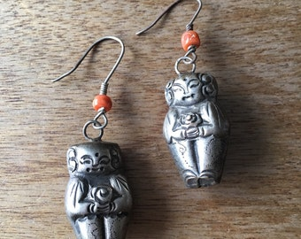 """Chinese Earrings, Vintage Chinese Silver Figurines (over 50 years old) of """"Boys"""" decorated with Ching (Qing) Dynasty Coral Bead Earrings"""