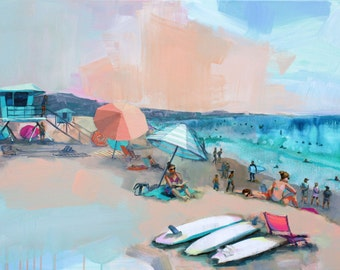 Print of Peachy Doheny Beach Scene, acrylic painting. Colorful art, beach painting, surfer, surboards, neon, california, beach watercolor