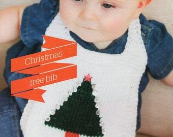 baby Christmas tree bib knitting pattern pdf 0-12months DK light worsted 8 ply baby knitting pattern pdf download