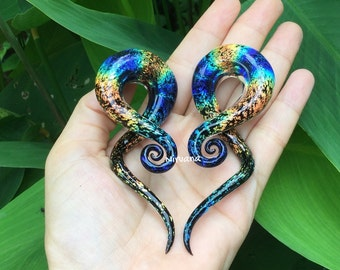 "1 Pair (2 pieces) - Rainbow Dichroic Glass Note Spirals 10g 8g 6g 4g 2g 0g 00g 7/16"" 1/2"" 9/16"" 5/8""  3 mm 4 mm 5 mm 6 mm 8 mm  - 16 mm"