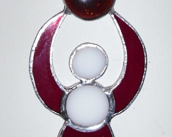 Goddess Stained glass Suncatcher - handmade, beautiful red cathedral glass Suncatcher, with red beads, Swarovski crystal