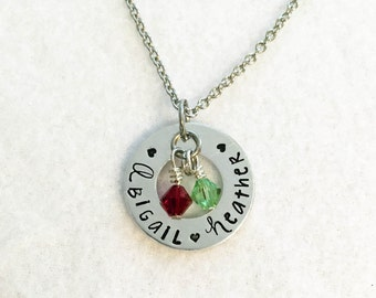 Personalized Necklace - Custom Necklace - Birthstone Necklace - Mothers Necklace - Necklace For Mother - Mothers Day Gift - Name Pendant