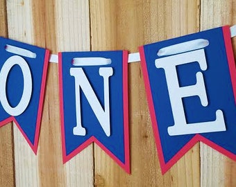 Royal Blue and Red High Chair Banner, Happy Birthday Banner, I Am One Banner, I Am Two Banner