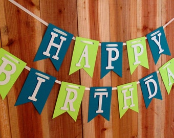 Lime and Blue Happy Birthday Banner, 1st Happy Birthday Banner