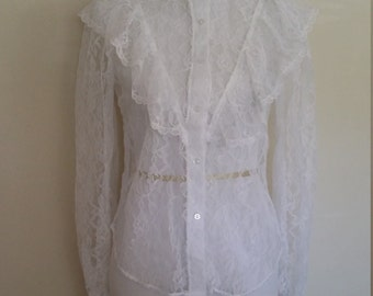 Steampunk top, lace blouse, S, M, 70's lace blouse, lace top, white blouse, romantic blouse