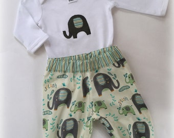 Baby Boy Elelphant outfit/set - pants and applique top  Avail in 000, 00, 0