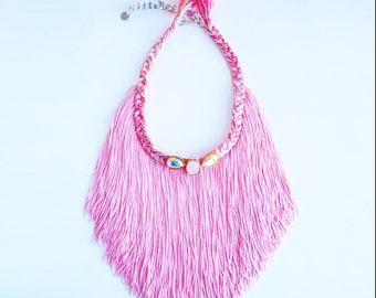 Big Fringe Necklace Long Fringe Necklace Light Pink Necklace Boho Fringe Necklace Pastel Pink Necklace Long Tassel Necklace Gifts Under 50