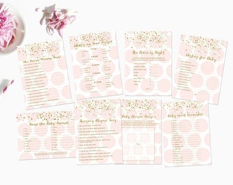 Pink and Gold Baby Shower Games Package, Price is Right, Word Scramble, Printable Baby Shower Games, Pink and Gold Instant Download203