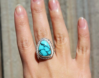Cloud Mtn Twisted Ring, Turquoise Ring