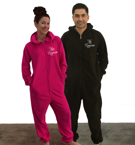 Mr And Mrs Fleece Onesies Set Of 2 Our First Christmas As