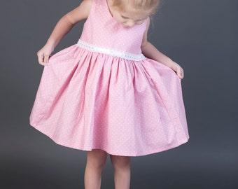 Girls Polka Dot Dress / Girls Vintage Dress / Girls Scoop Back Dress / Toddler Vintage Dress / Girls Party Dress