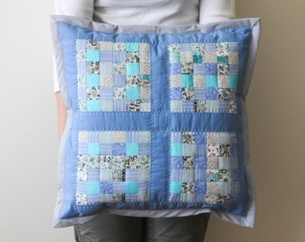 light blue quilted pillow/ blue white quilted pillow cover/ pastele blue patchwork pillow/ decorative quilted cushion/ quilted throw pillow