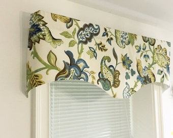 """Window valance, lined window valance,decorative valance Richloom blues greens scalloped valance 50"""" x 16"""" 52"""" x 16"""" Design by HomeandHome"""