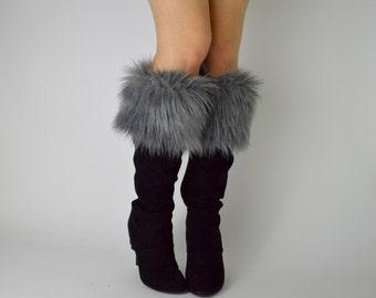 Gray Fur Boot Cuffs FREE SHIPPING - Fur Cuffs, Faux Fur Boot Socks, Boot Toppers, Grey Faux Fur Boot Covers, Fur Leg Warmers