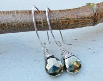 Pyrite and Sterlin Dangle Drop Earrings / Boho Earrings / Sterling Wrapped earthy Pyrite Earrings