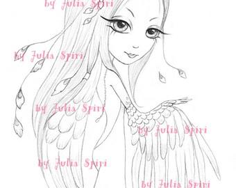 Digital stamps, Angel Digi, Fantasy, Angels, Mask, Wings, Big Eyes, Cute, Coloring pages, Paper crafting, Cardmaking. Ofelia Angel