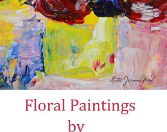 Acrylic Still Life Painting Original Art Colorful Bouquet Red Abstract Flowers Fine Art Wall Hanging Home Wall Decor No 260