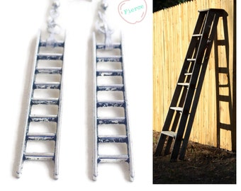Ladder Earrings, 925 Sterling Silver Wires, House Painters Builders Architect Construction Gifts for Volunteers Climbing