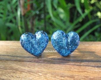 """Aqua Blue Dichroic Glass Heart Plugs 10g 8g 6g 4g 2g 0G 00g  7/16"""" 1/2"""" 9/16"""" 5/8"""" 3/4"""" 7/8"""" 1""""  3 mm 4 mm - 25 mm"""