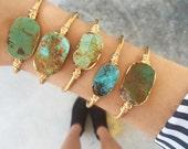 Genuine Natural Raw Turquoise Cuff Bracelet | Adjustable Cuff | Raw Stone |