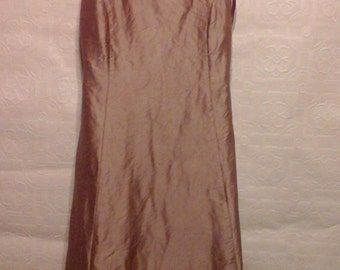 Vintage girls formal. In taupe duponi silk. Size 14