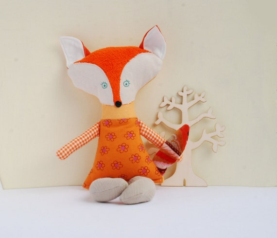 Stuffed Orange Fox Doll, Forest Animals Toys, Rag Textile Fabric Doll, Soft Animal Toy, Nursery Decor, Woodland Animal Toys, Gift for Girls