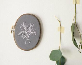 Embroidery Palm Tree, Botanical Fiber Art, Hoop Art, Houseplant Decor, Palm Tree Wall Hanging, Floral Wall Art, Gift for Girl Friend
