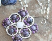 Charoite Mandala Pendant (250m): Handmade Jewelry, Violet Ray Necklace, Charoite Necklace, Rose Quartz Necklace, Violet Flame Necklace