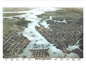 """Norfolk and Portsmouth Virginia in 1873 Panoramic Bird's Eye View Map by C. N. Drie 22x16"""" Reproduction"""