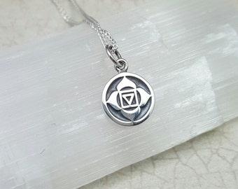 Tiny Root Chakra necklace. Muladhara chakra. Root Chakra Muladhara pendant. Earth Chakra necklace. Chakra jewelry. Grounding. Yoga gift
