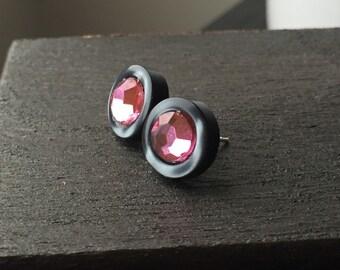 Cute Button Earring - Pink Button Earrings - Button Post Earrings or Button Stud Earrings - Valentines Day Earrings - Button Earings