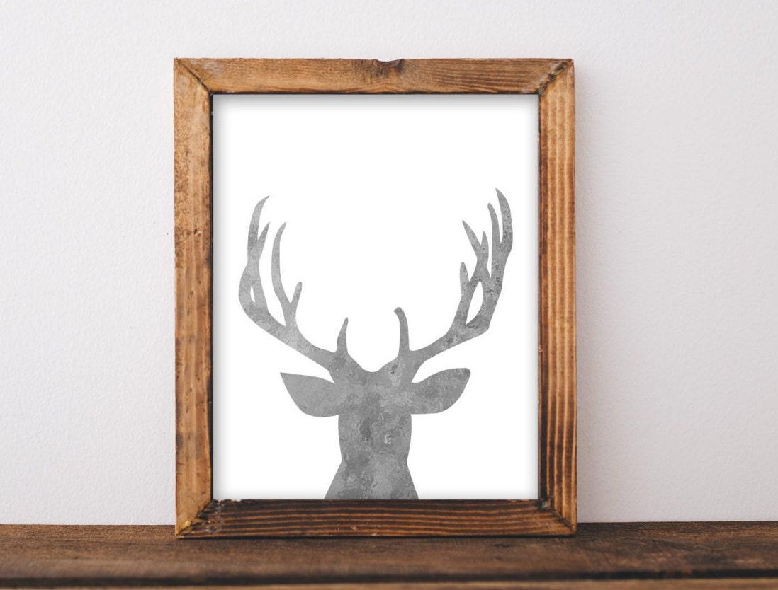 galvanized decor deer head printable art print by. Black Bedroom Furniture Sets. Home Design Ideas