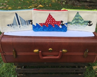 Canvas Pouch with Appliqued Sailboats