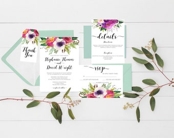 wedding invitations Printable wedding invitations Wedding suite floral wedding invitation suite wedding invitation set Wedding Stationery